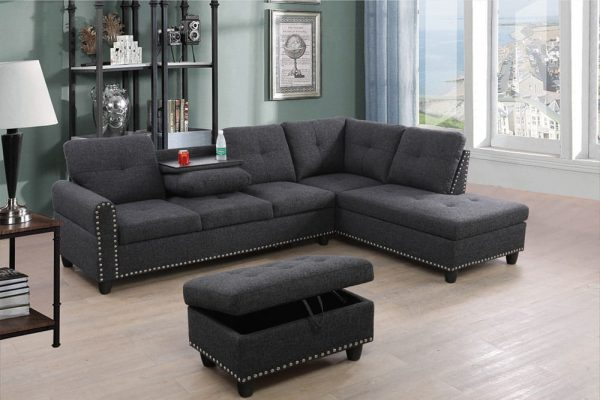 3 piece modern sectional sofa right