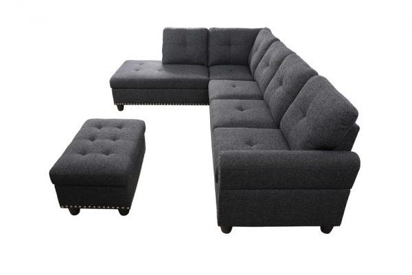 3 piece modern sectional sofa side