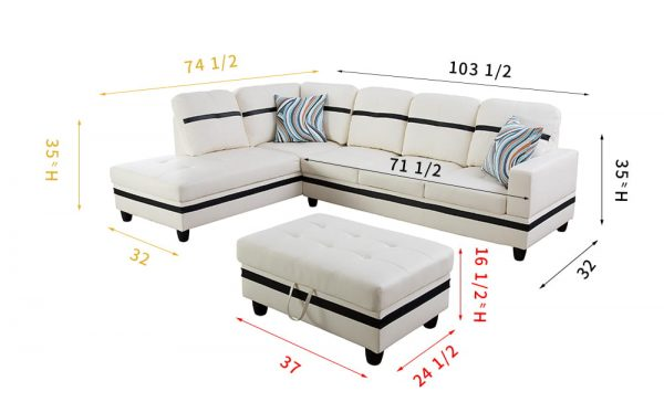 3-piece modern white leather reversible sectional sofa with large ottoman