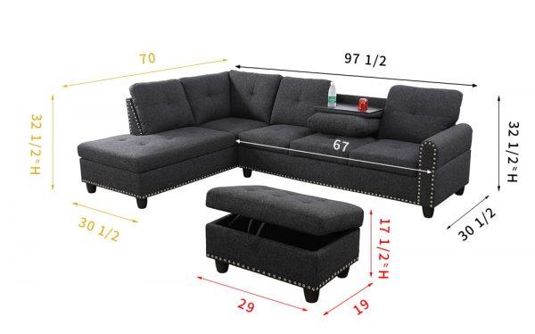3 piece sectional modern sofa