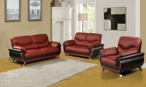 Deep red leather sectional sofa