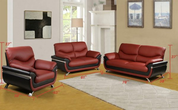 Deep red leather sectional sofa size