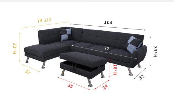 Sectional Black Metal tripod Sofa with Storage