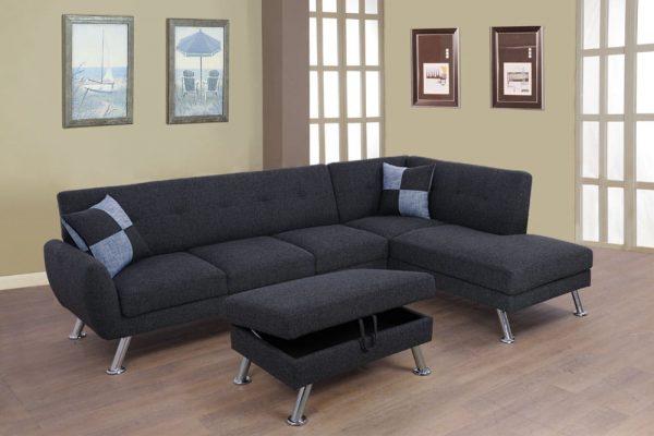 Sectional Black Metal tripod Sofa with Storage Ottoman right