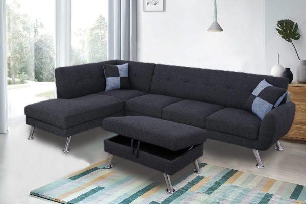 Sectional Black Metal tripod Sofa with Storage Ottoman sences