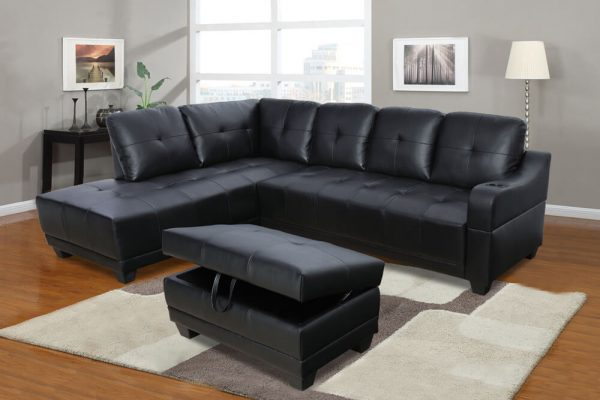 Shirly 96'' Left Hand Facing & Right Hand Facing Sectional Sofa Set with Storage Ottoman by Ainehome sences
