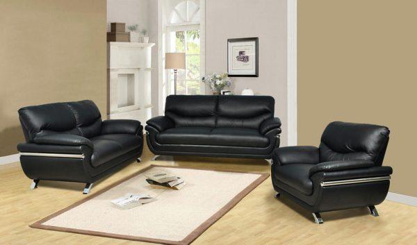 black leather sectional sofa Metal feet