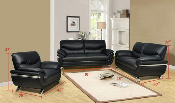 black leather sectional sofa Metal feet size
