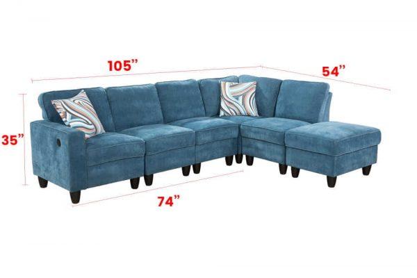 blue modular sectional sofa size