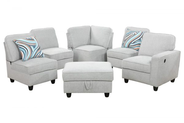 contemporary modern white flannel sectional sofa