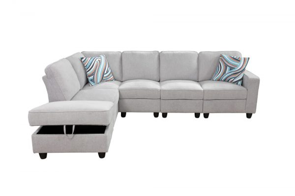 contemporary modern white flannel sectional sofa front