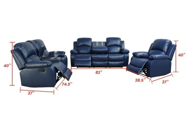 elran leather reclining sofa size