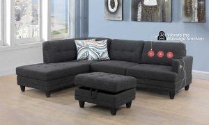 furniture modern microfiber sectional sofa massage