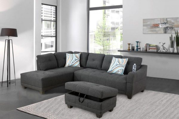 grey sectional flannelette sofa