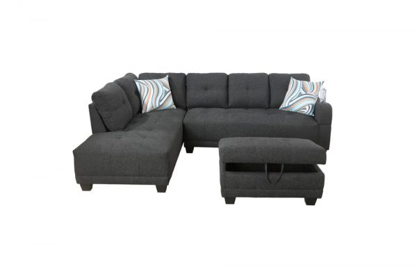 grey sectional flannelette sofa front