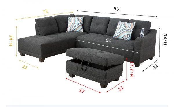 grey sectional flannelette sofa left
