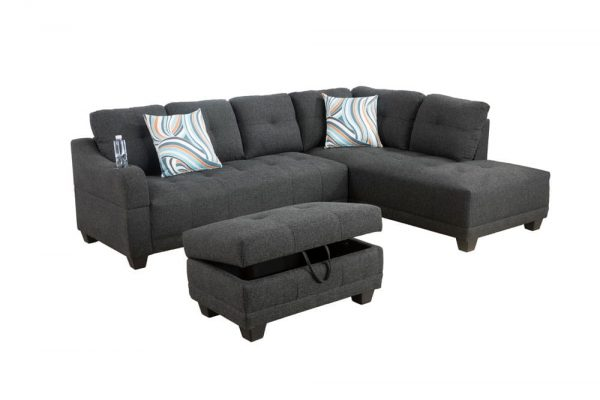 grey sectional flannelette sofa right