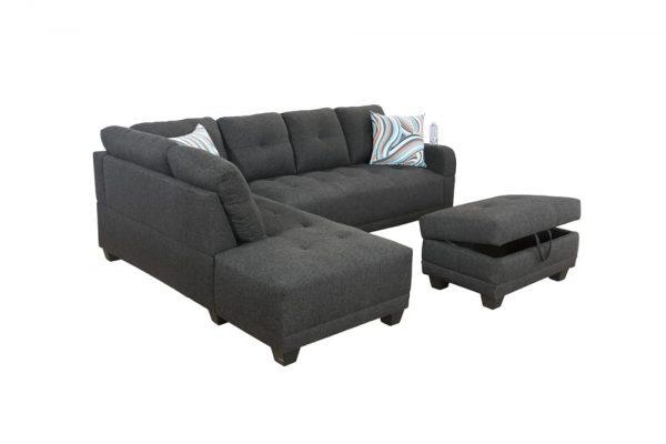 grey sectional flannelette sofa side