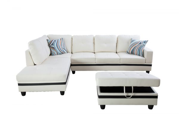 large white leather sectional sofa front