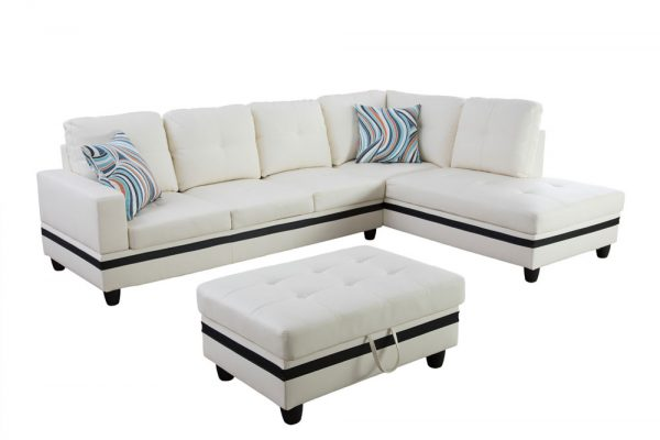 large white leather sectional sofa right