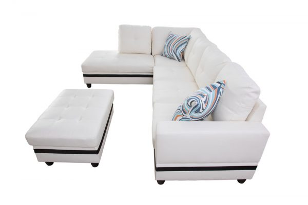 large white leather sectional sofa side