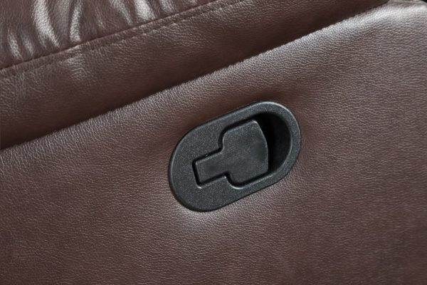 leather reclining loveseat US detail