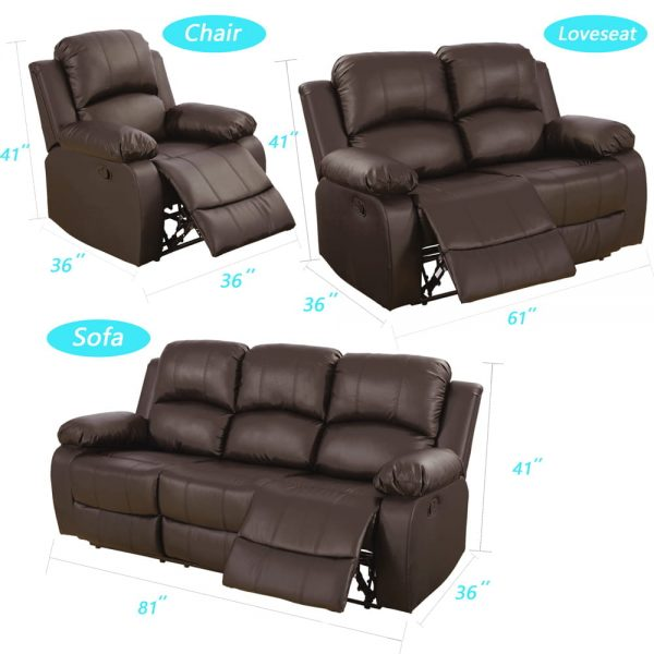 leather reclining loveseat US size