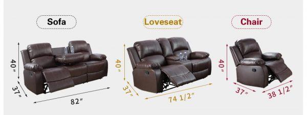 leathercraft recliner size