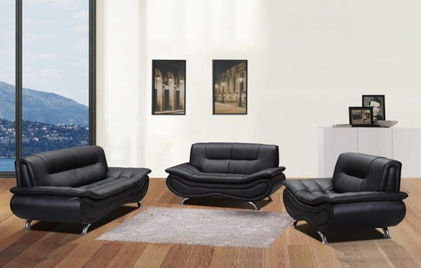 modern black US leather sectional sofa