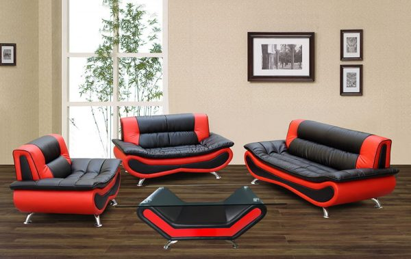 modern black and red US leather sectional sofa