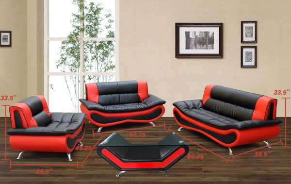 modern black and red US leather sectional sofa size