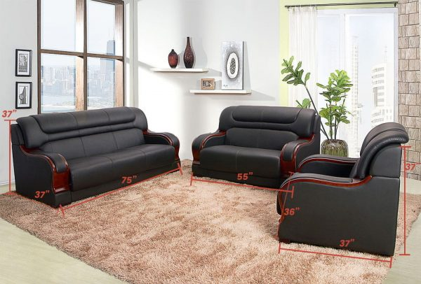 modern black bonded leather small sectional sofa small space configurable size