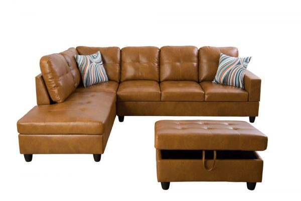 modern brown leather sectional sofa front