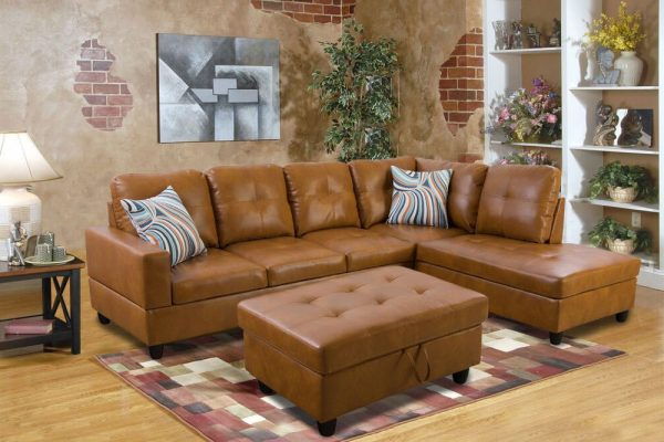 modern brown leather sectional sofa right