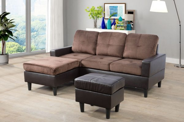 modern brown microfiber sectional sofa