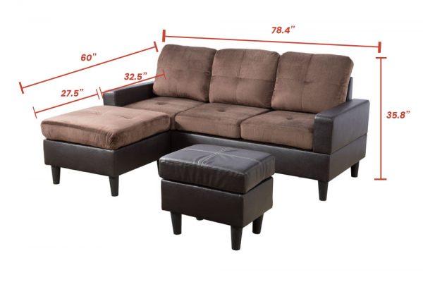 modern brown microfiber sectional sofa size