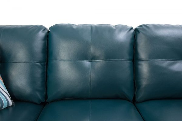 modern green blue leather sectional sofa