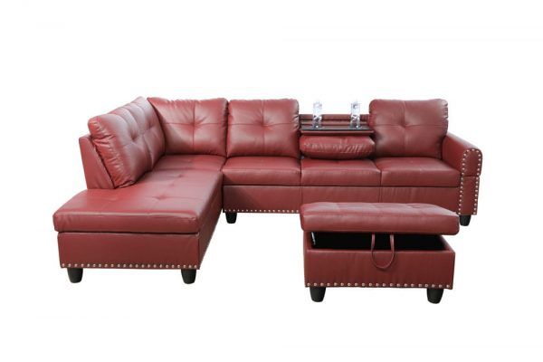 modern leather 3 piece sectional sofa in red front