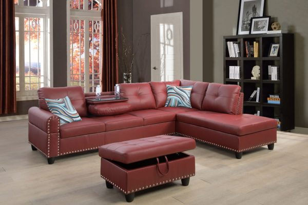 modern leather 3 piece sectional sofa in red right
