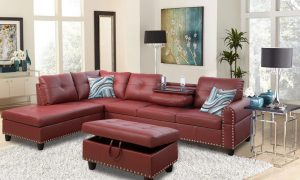 modern leather 3 piece sectional sofa in red sences