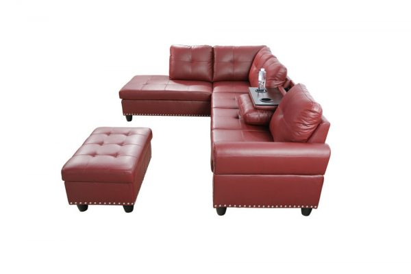 modern leather 3 piece sectional sofa in red side