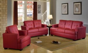 modern red US leather sectional sofa