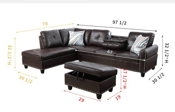 modern reversible small space leather sectional sofa