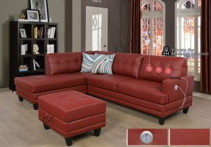 red faux leather sectional sofa massage