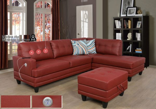 red faux leather sectional sofa right