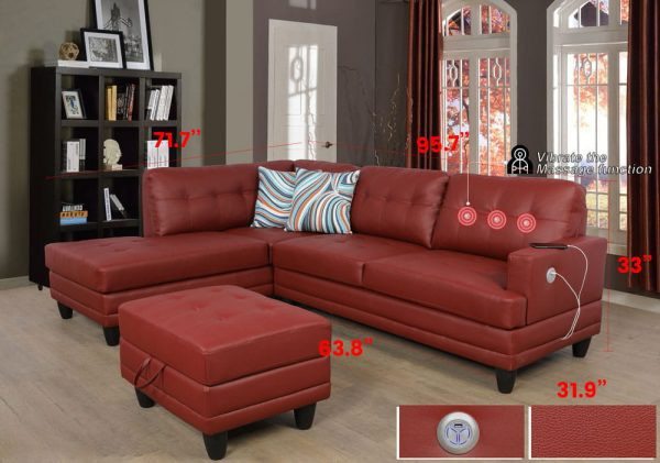red faux leather sectional sofa size