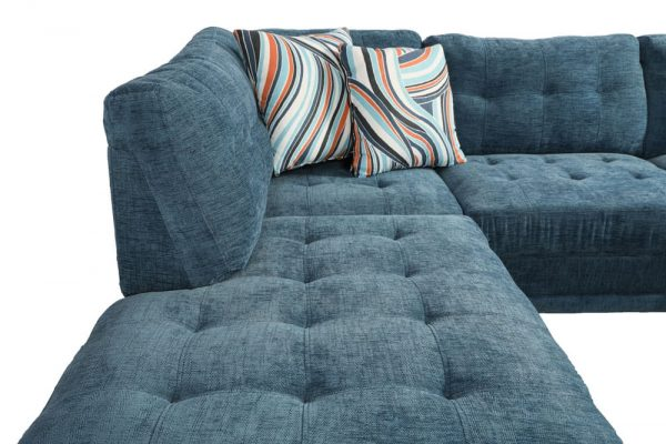 sectional linen sofa blue 3 seater