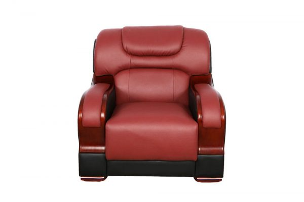 small red leather sectional sofa chair front