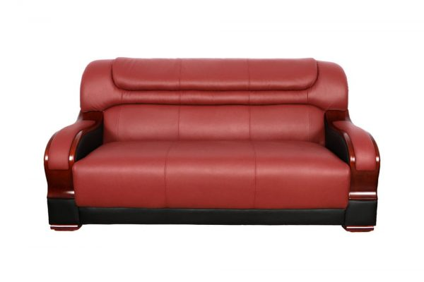 small red leather sectional sofa front