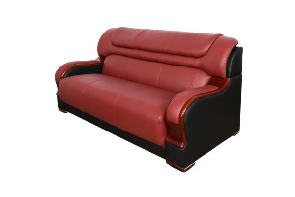 small red leather sectional sofa side 1